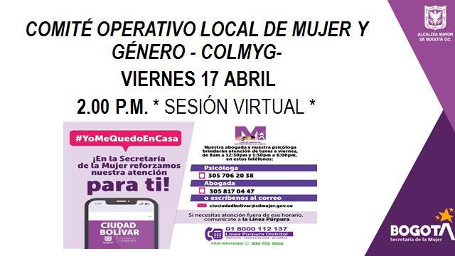 Reunión COLMYG Ciudad Bolívar se desarrollará de forma virtual