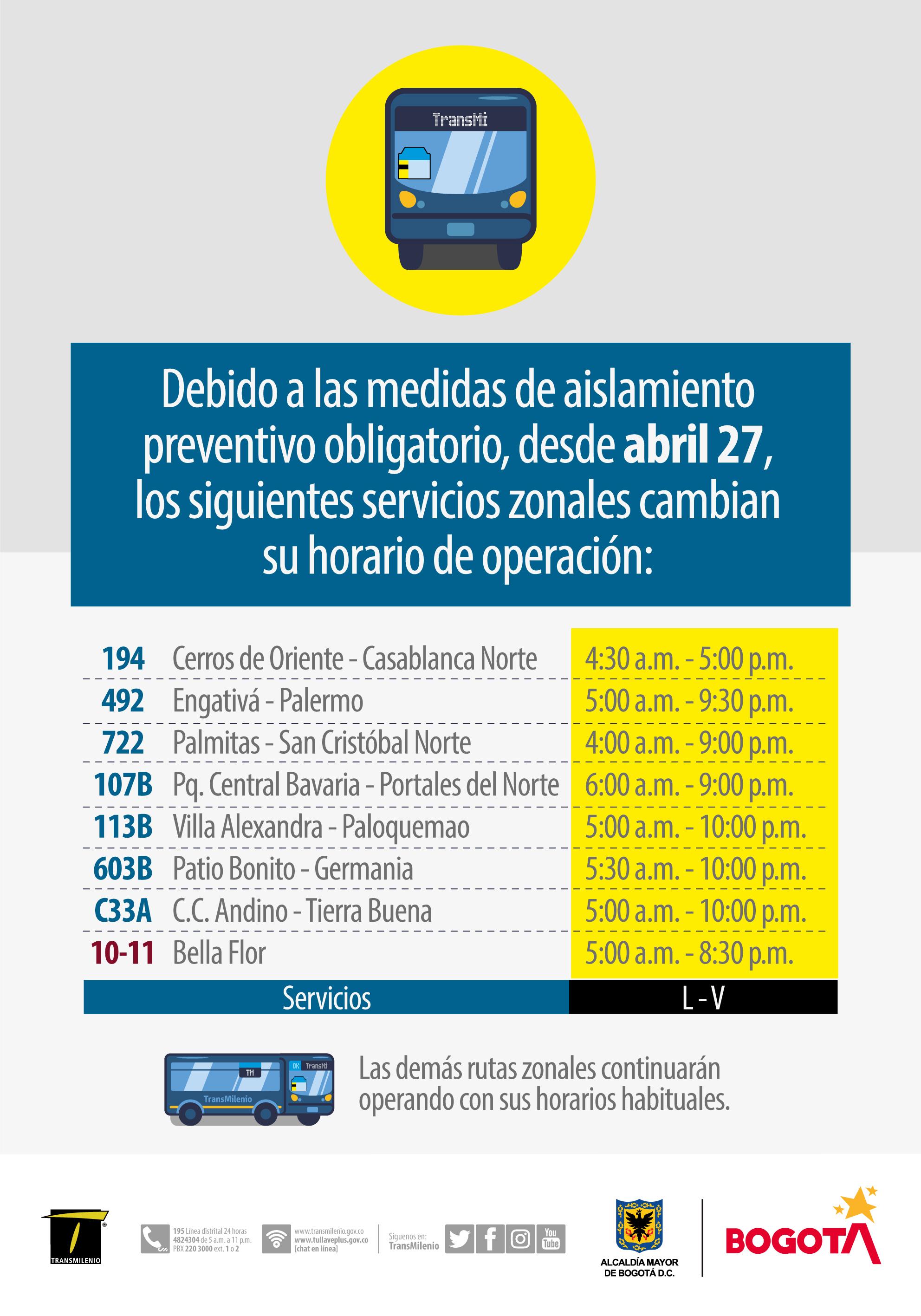 ¡Pilas con el cambio de horario en algunas rutas de transporte!