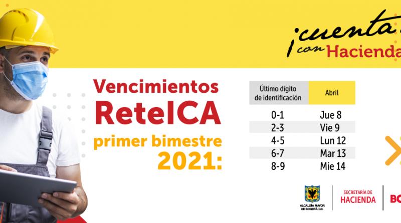 Del 8 al 14 de abril, vence el plazo para declarar y pagar ReteICA primer bimestre 2021