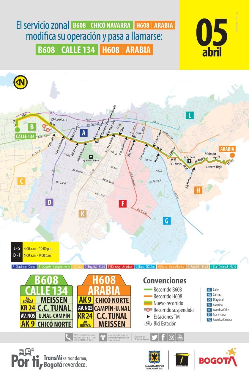 Extensión en ruta zonal HB608 hasta la Calle 134 con KR 9 en la localidad de Usaquén.