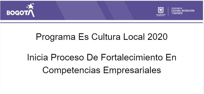 Programa Es Cultura Local 2020 Inicia Proceso De Fortalecimiento En Competencias Empresariales